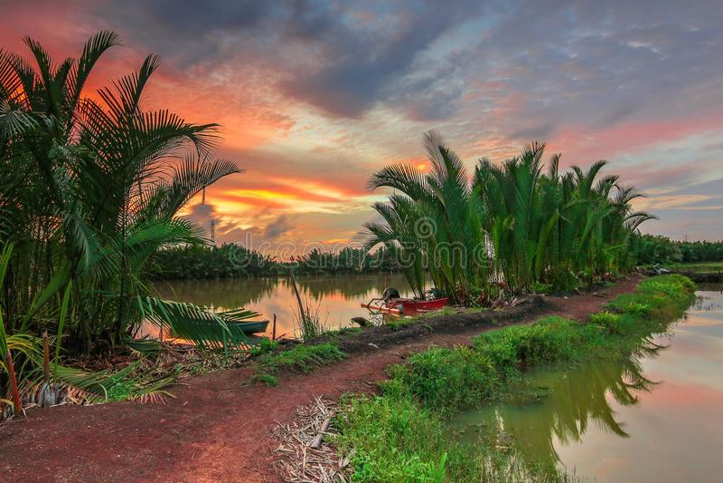Sunset at River Tallo Makassar stock photography