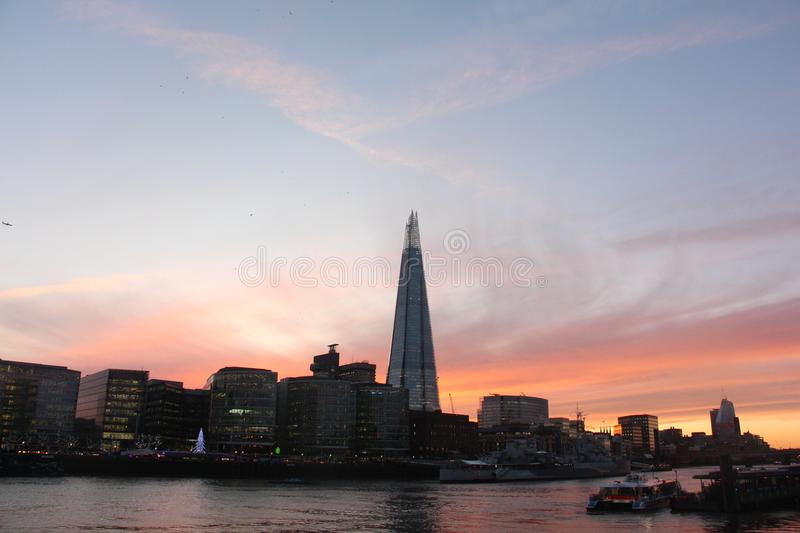 Sunset river Thames central london, the shard royalty free stock photography