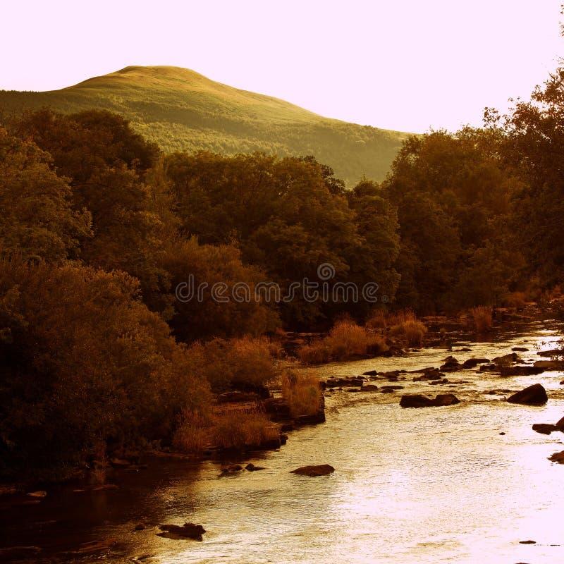 Sunset of River Usk Wales UK stock photo