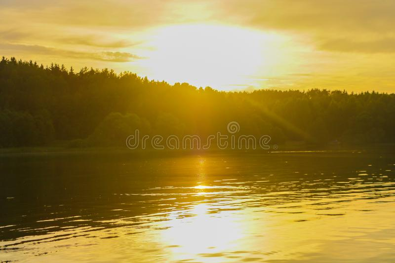 Sunset river water reflection landscape. River sunset reflection. Sunset river landscape. Sunset orange river view stock photography