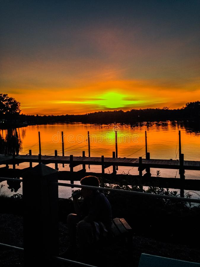 Sunset over the rappahanock river royalty free stock photography