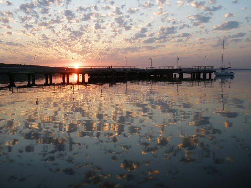 Sunset on the river Yuzhny Bug,Ukraine stock image