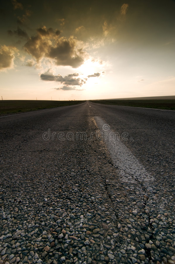 Download Sunset on road stock photo. Image of cloudy, nature, evening - 9326030