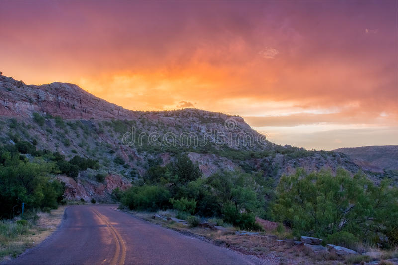 Sunset and Road at Palo Duro stock photography