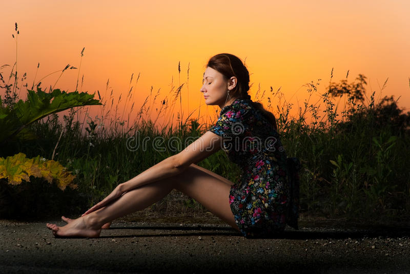 Download Sunset roadside view stock photo. Image of lady, glance - 14736294