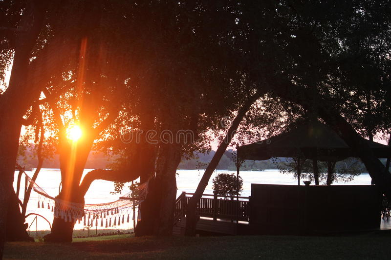 Sunset at the Roal Livingstone royalty free stock image