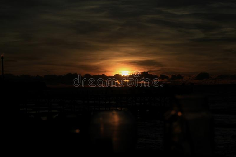 Sunset in rock bar bali royalty free stock images