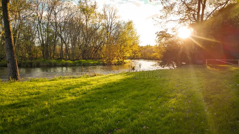 Sunset on the Rock River stock photography