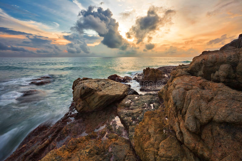 Sunset at the rocks royalty free stock images