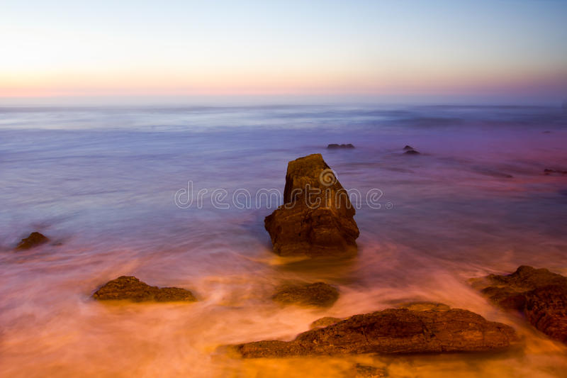 Sunset On The Rocky Coast In Portugal Stock Photo