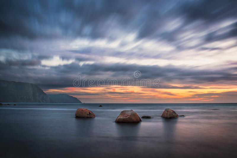 Sunset, Rocky Harbour stock images