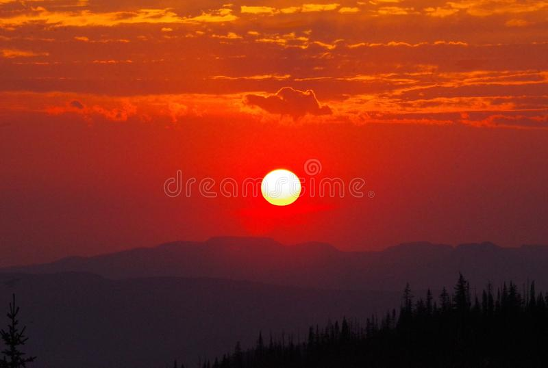 Sunset in the Rocky Mountains stock image
