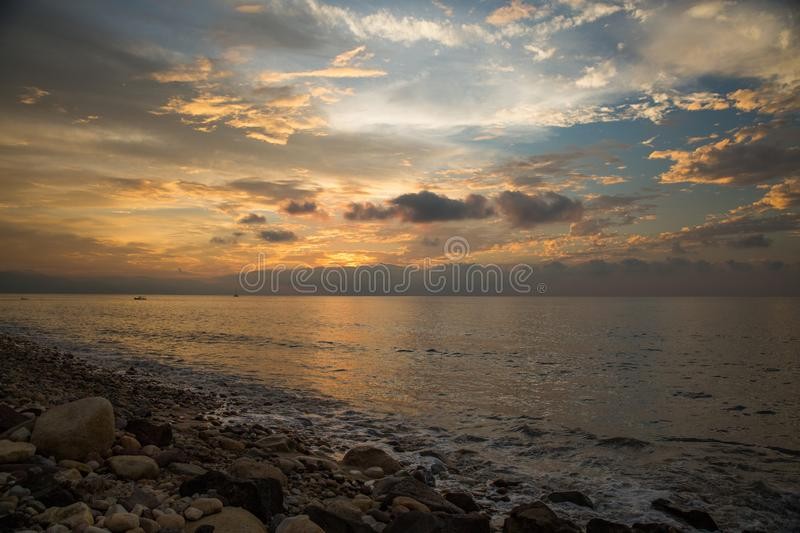 Sunset on Rosita Beach in Centro. Sunset over the Banderas Bay in Centro, Puerto Vallarta, Jalisco, Mexico stock photography