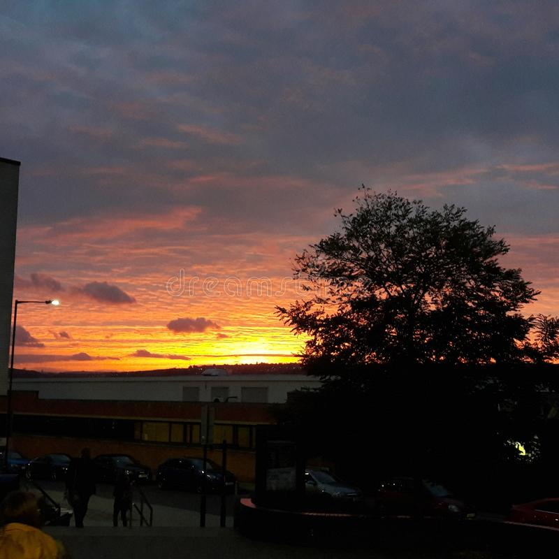 Sunset rotherham. Sunset by Rotherham College Buildings winter royalty free stock photos