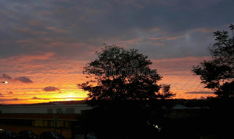 Sunset rotherham. Sunset by Rotherham College Buildings winter stock photos