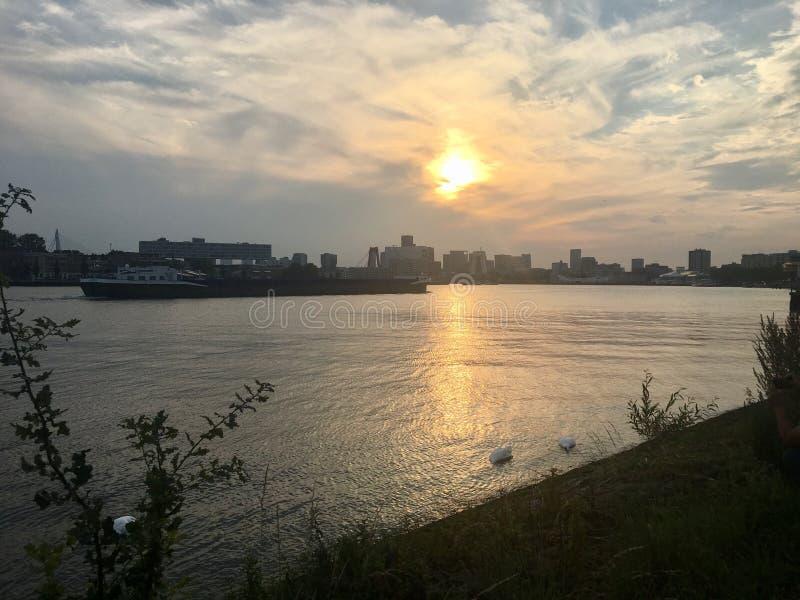 Sunset Rotterdam stock images