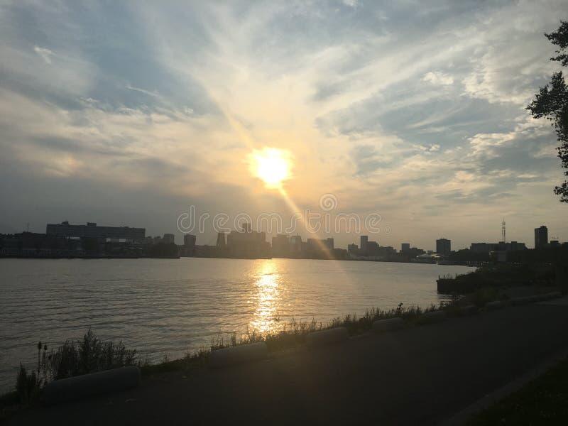Sunset Rotterdam stock image