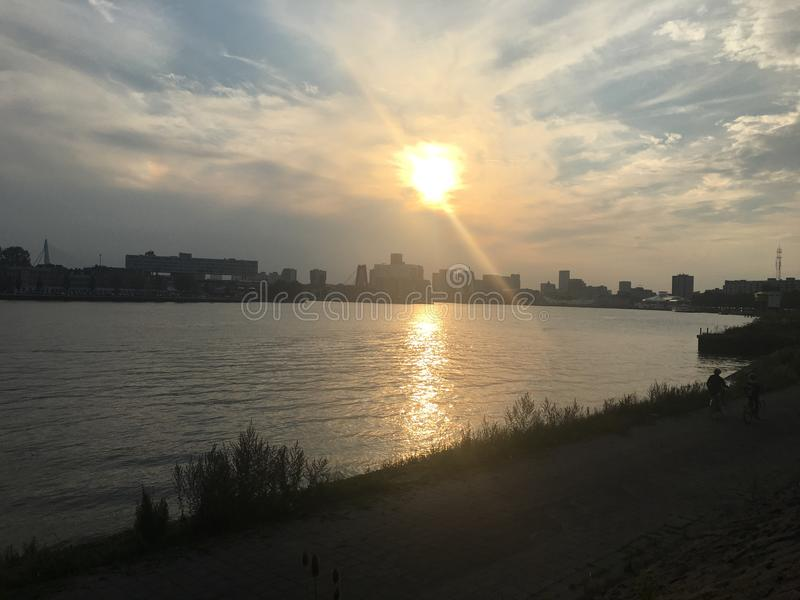 Sunset Rotterdam royalty free stock photos