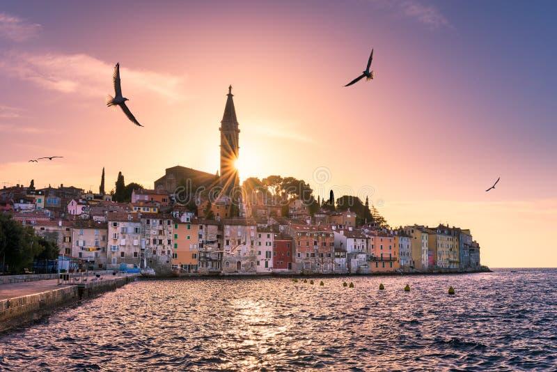 Sunset in Rovinj, Croatia stock images