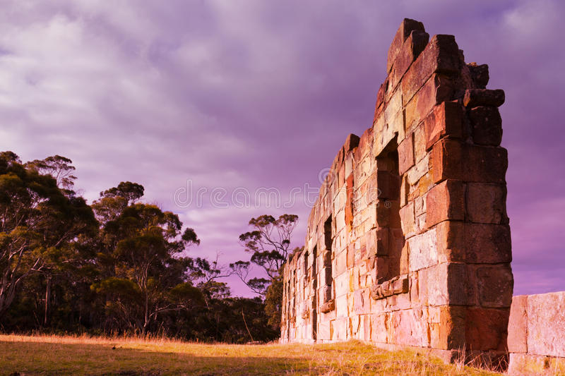 Sunset ruins. Ruins at the Saltwater River Convict Probation Station in Tasmania royalty free stock photos