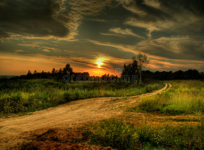 SUNSET IN RUSSIA royalty free stock photos