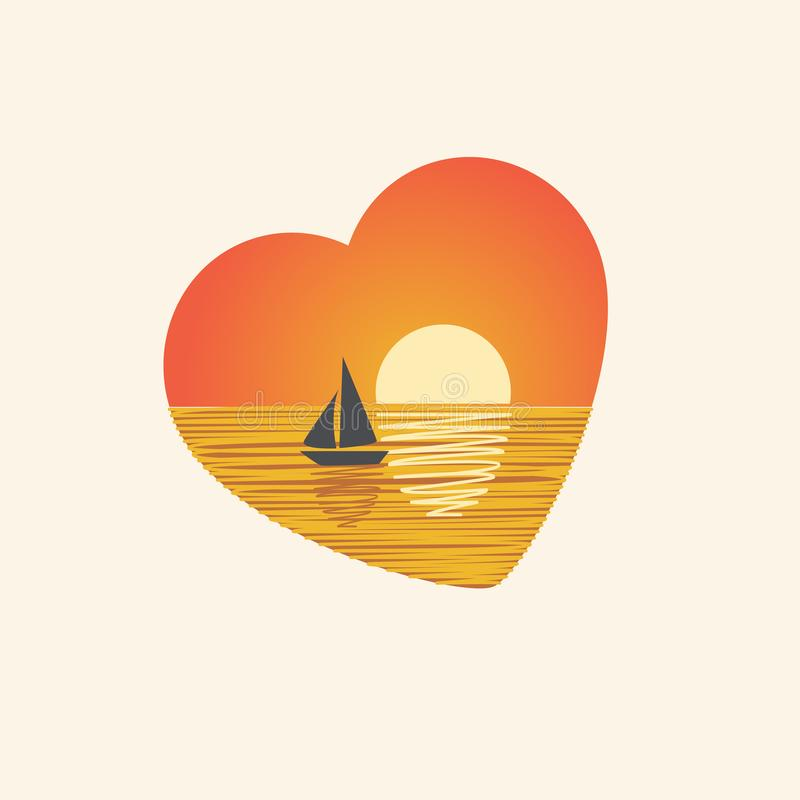 Sunset with sailboat in heart shape. Vector design. Orange colour. Romantic sunset with silhouette of sailboat in heart shape. Vector design. Orange colour vector illustration