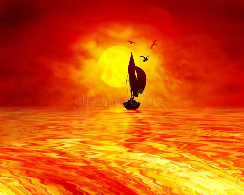 Sunset Sailing royalty free stock photography