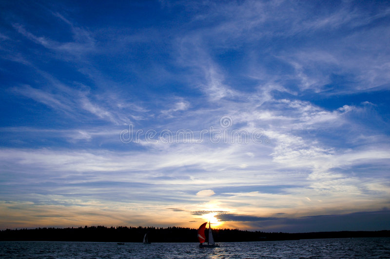 Sunset Sailing stock photo