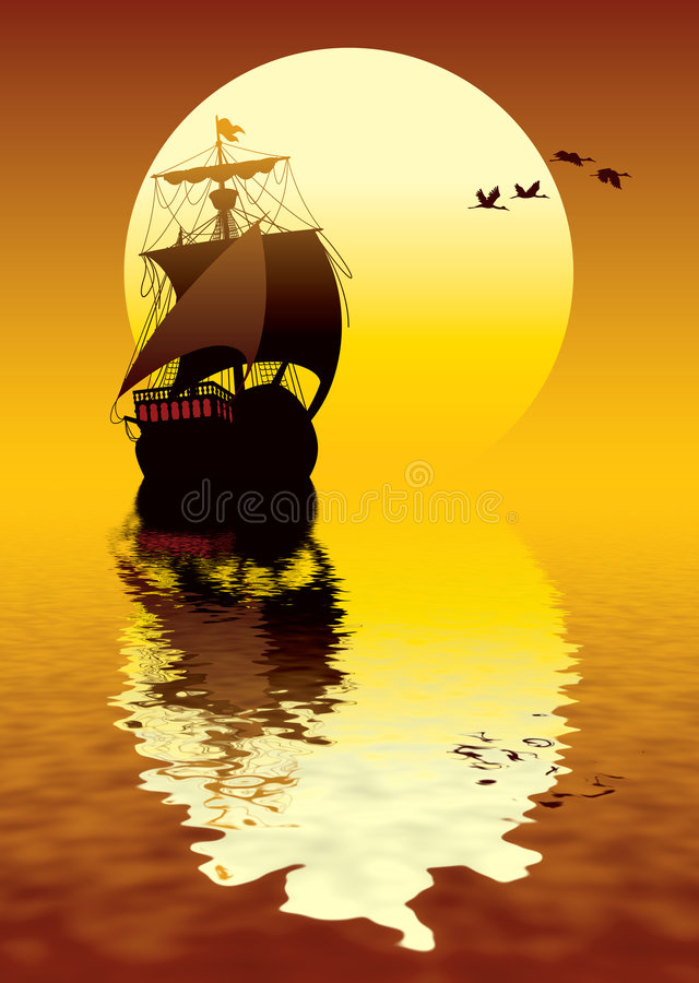 Sunset sailing. Illustration of ancient ship sailing to the sun royalty free illustration