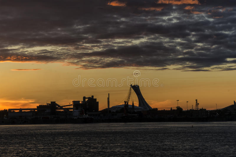 Sunset on the Saint Lawrence Seaway stock image