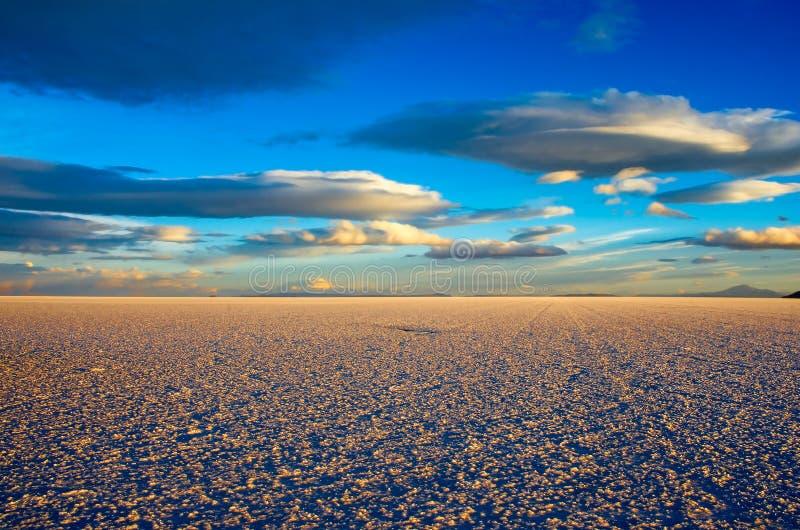 Sunset in Salar de Uyuni, Bolivia stock photos