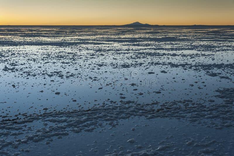 Sunset in the Salar de Uyuni near Colchani. It is the largest salt flat in the World UNESCO World Heritage Site - Bolivia stock photo