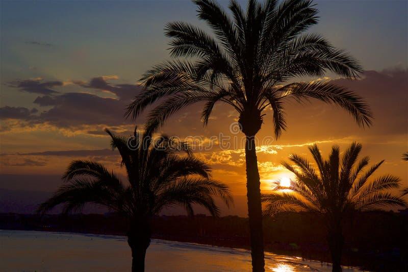 Sunset in Salou, Spain. Beautiful coastal walk and sunset in Salou resort, Spain royalty free stock images