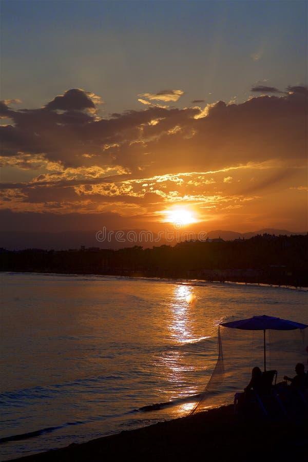 Sunset in Salou, Spain. Beautiful coastal walk and sunset in Salou resort, Spain royalty free stock photo