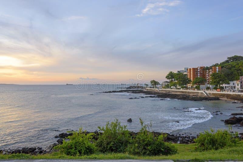 Sunset at Salvador city stock image