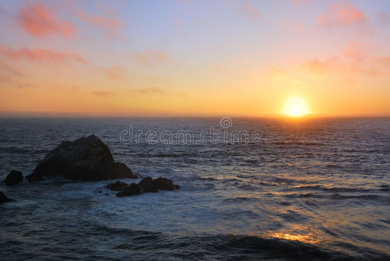 Sunset at San Francisco Ocean Beach royalty free stock image