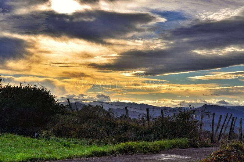 Sunset in San Sebastian, Spain stock images