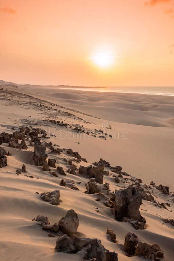 Sunset on sand dunes in Chaves beach Praia de Chaves in Boavist. A Island Cape Verde - Cabo Verde royalty free stock images
