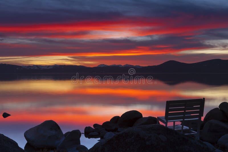 Sand Harbor Sunset stock photography