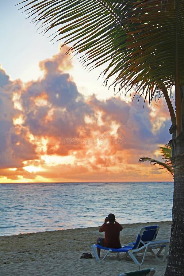 Sunset on the sandy beach. royalty free stock photos