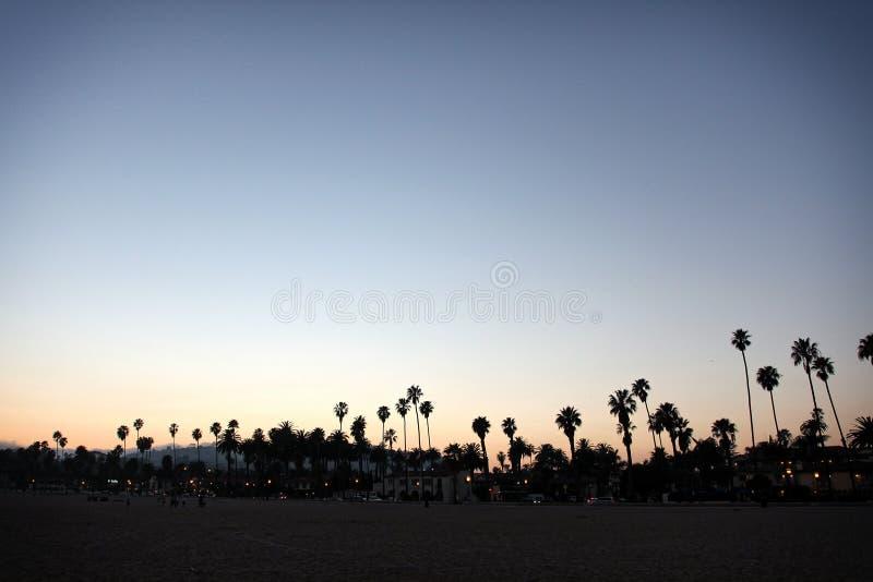Sunset Santa Barbara Beach. Sunset at a Santa Barbara beach looking towards the city royalty free stock photos