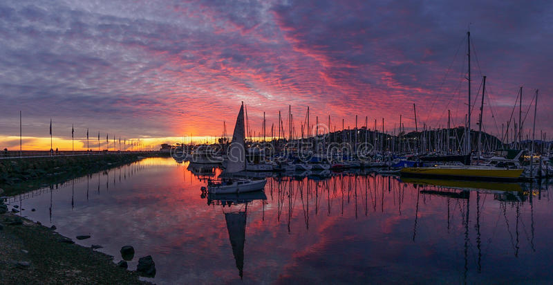 Sunset Santa Barbara Harbor stock photo