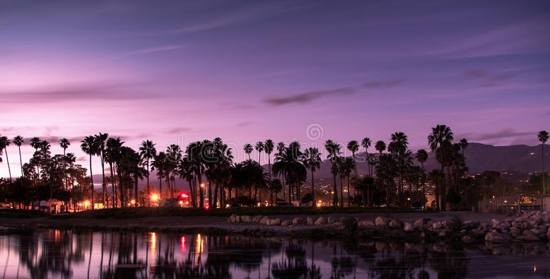 Sunset in Santa Barbara. The sunset in a very popular area of Santa Barbara. Between the pier and the beautiful sun, this is a very popular tourist part of stock image