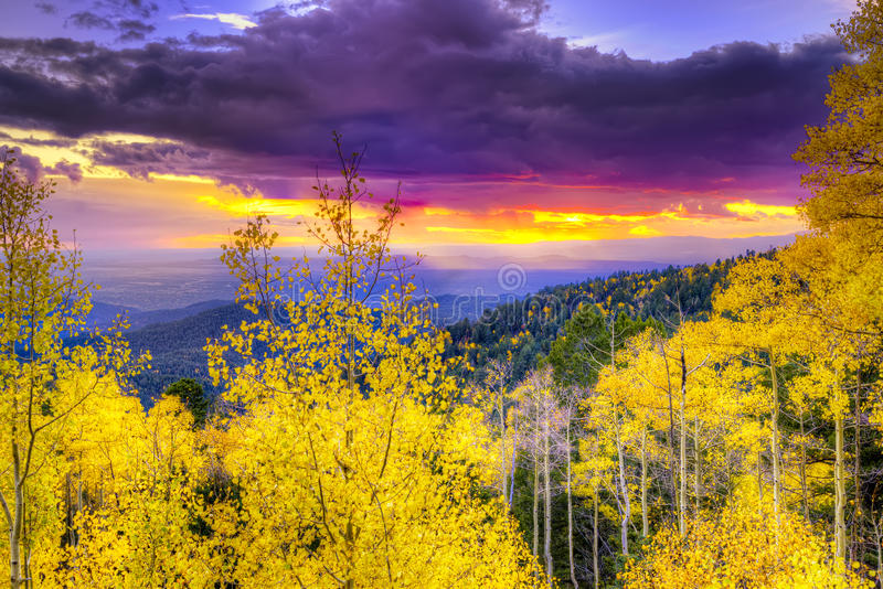 Sunset at Santa Fe Ski Basin royalty free stock images