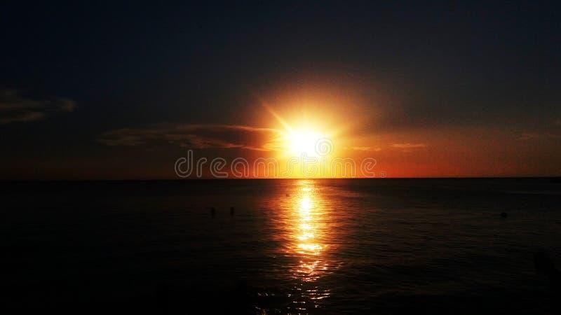 Sunset, Santa Marta beach royalty free stock photos