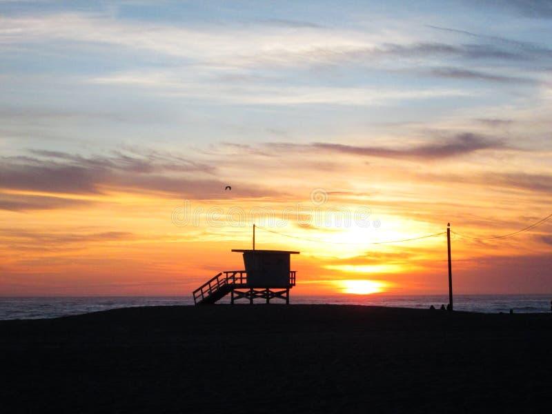 Sunset in Santa Monica beach royalty free stock photography