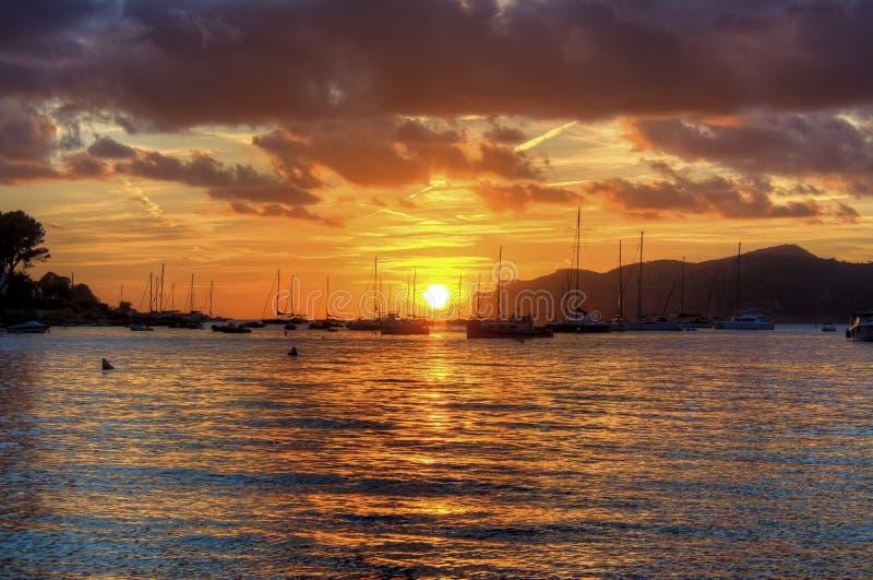 Sunset on Santa Ponsa beach playa, Mallorca, Spain royalty free stock image