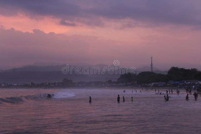Sunset at santolo beach stock images