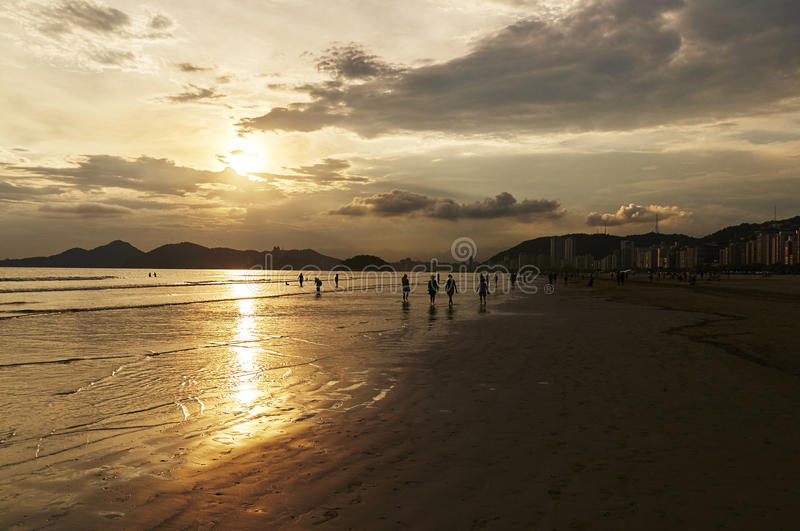 Sunset of Santos beach, in Sao Paulo royalty free stock images