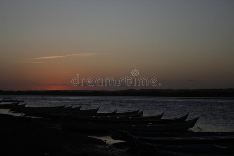 Sunset in the Sao Francisco River stock photography